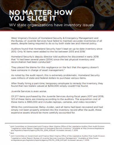 No Matter How You Slice It: WV State Organizations Have Inventory Issues