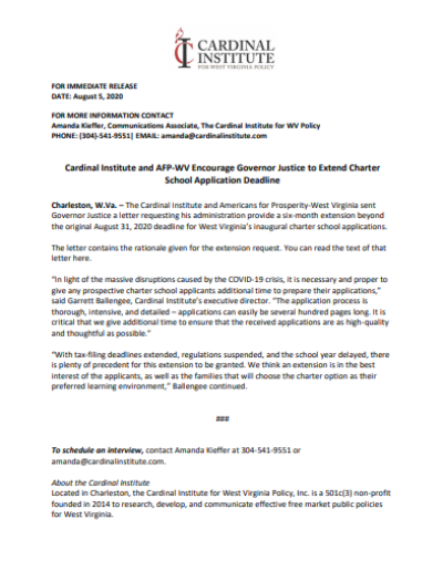 Press Release: Cardinal Institute and AFP-WV Encourage Governor Justice to Extend Charter School Application Deadline